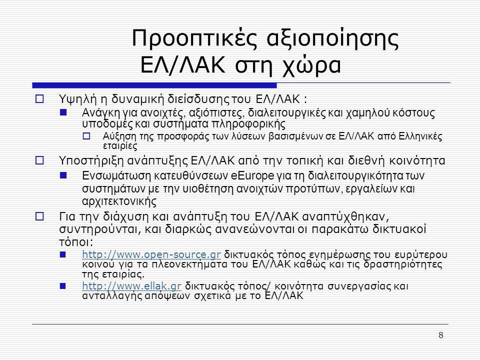 9 Πηγές 1.eEurope 2005 action plan www.europa.eu.int/information_society/eeurope/news_library/documents/eeurope2005/eeurope2005_en.pdf 2. Free Software / Open Source: Information Society Opportunities for Europe? , Working group on Libre Software 2000, http://eu.conecta.it/paper/paper.htmlhttp://eu.conecta.it/paper/paper.html 3. Pooling Open Source Software: An IDA Feasibility Study , Interchange of Data between Administrations, European Commission, DG Enterprise, June 2002 http://europa.eu.int/ISPO/ida/jsps/dsp_showDocument.jsp?documentID=333 http://europa.eu.int/ISPO/ida/jsps/dsp_showDocument.jsp?documentID=333 4. Free/Libre Open Source Software: Survey and Study , FLOSS Report, Berlecon Research, European Commission, IST, July 2002, www.infonomics.nl/FLOSS/report/www.infonomics.nl/FLOSS/report/ 5. Aspects of Open Source in Telecommunications , Eurescom, Project P1044,May 2001 6. A Business Case Study of Open Source Software in Military Systems , MITRE Corporation, July 2001 7. Use of OSS within UK Government http://www.govtalk.gov.uk/documents/OSS%20Policy%20draft%20for%20public%20consultation.pdf 8. Impact of open source in the total cost of ownership , http://eu.conecta.it/paper/Impact_open_source_in.html http://eu.conecta.it/paper/Impact_open_source_in.html