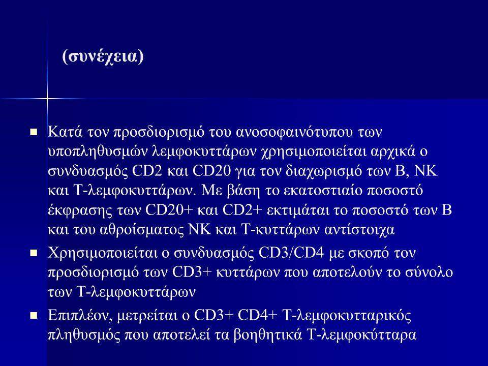 (συνέχεια) Κατά τον προσδιορισμό του ανοσοφαινότυπου των υποπληθυσμών λεμφοκυττάρων χρησιμοποιείται αρχικά ο συνδυασμός CD2 και CD20 για τον διαχωρισμ
