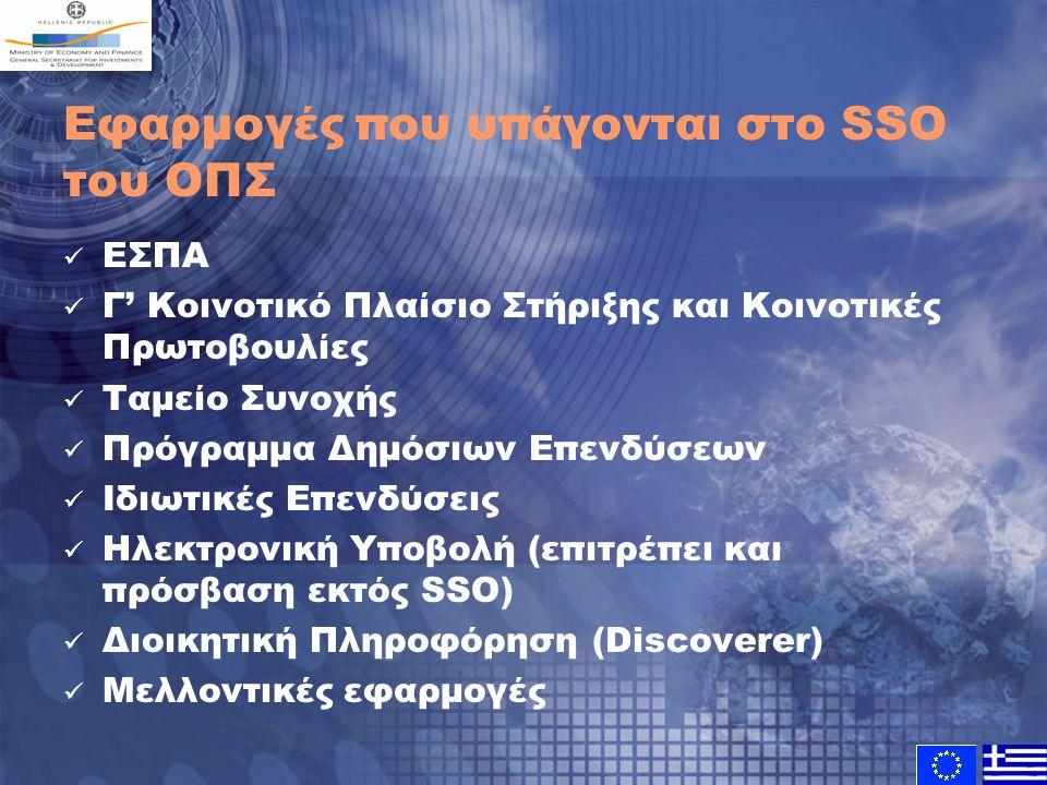 Εφαρμογές που υπάγονται στο SSO του ΟΠΣ ΕΣΠΑ Γ' Κοινοτικό Πλαίσιο Στήριξης και Κοινοτικές Πρωτοβουλίες Ταμείο Συνοχής Πρόγραμμα Δημόσιων Επενδύσεων Ιδιωτικές Επενδύσεις Ηλεκτρονική Υποβολή (επιτρέπει και πρόσβαση εκτός SSO) Διοικητική Πληροφόρηση (Discoverer) Μελλοντικές εφαρμογές