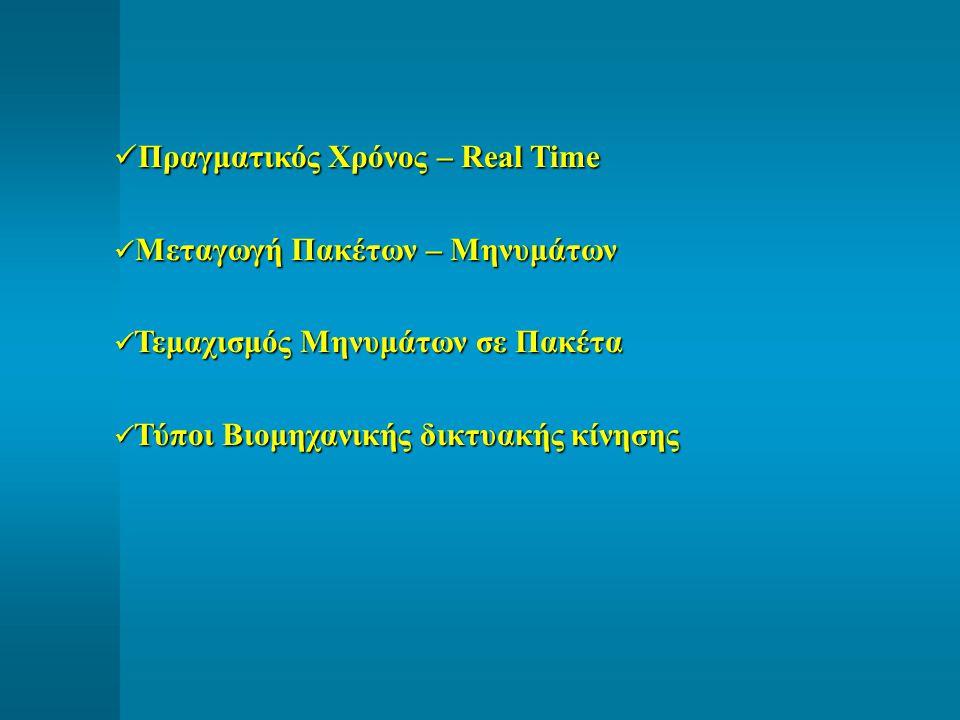 Πραγματικός Χρόνος – Real Time Πραγματικός Χρόνος – Real Time Μεταγωγή Πακέτων – Μηνυμάτων Μεταγωγή Πακέτων – Μηνυμάτων Τεμαχισμός Μηνυμάτων σε Πακέτα