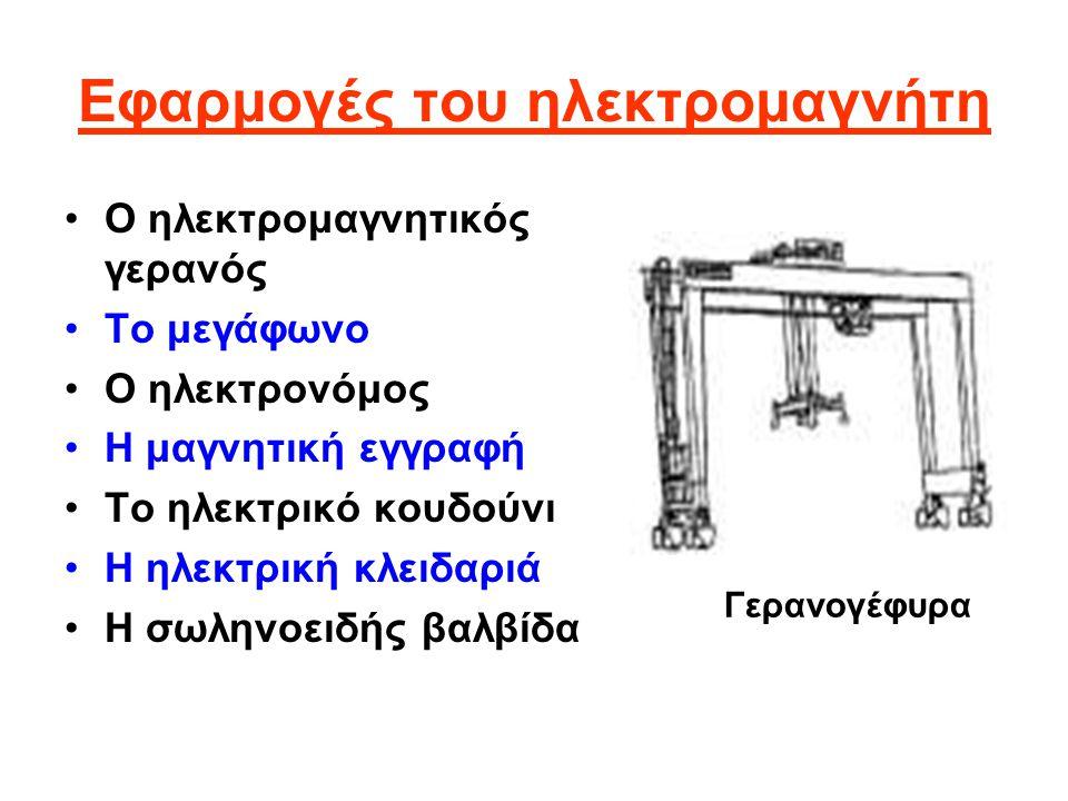 Εφαρμογές του ηλεκτρομαγνήτη Ο ηλεκτρομαγνητικός γερανός Το μεγάφωνο Ο ηλεκτρονόμος Η μαγνητική εγγραφή Το ηλεκτρικό κουδούνι Η ηλεκτρική κλειδαριά Η σωληνοειδής βαλβίδα Γερανογέφυρα
