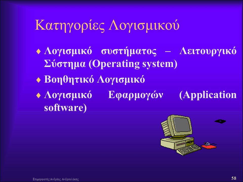 58 Επιμορφωτής:Ανδρέας Ανδρουλάκης Κατηγορίες Λογισμικού  Λογισμικό συστήματος – Λειτουργικό Σύστημα (Operating system)  Βοηθητικό Λογισμικό  Λογισ