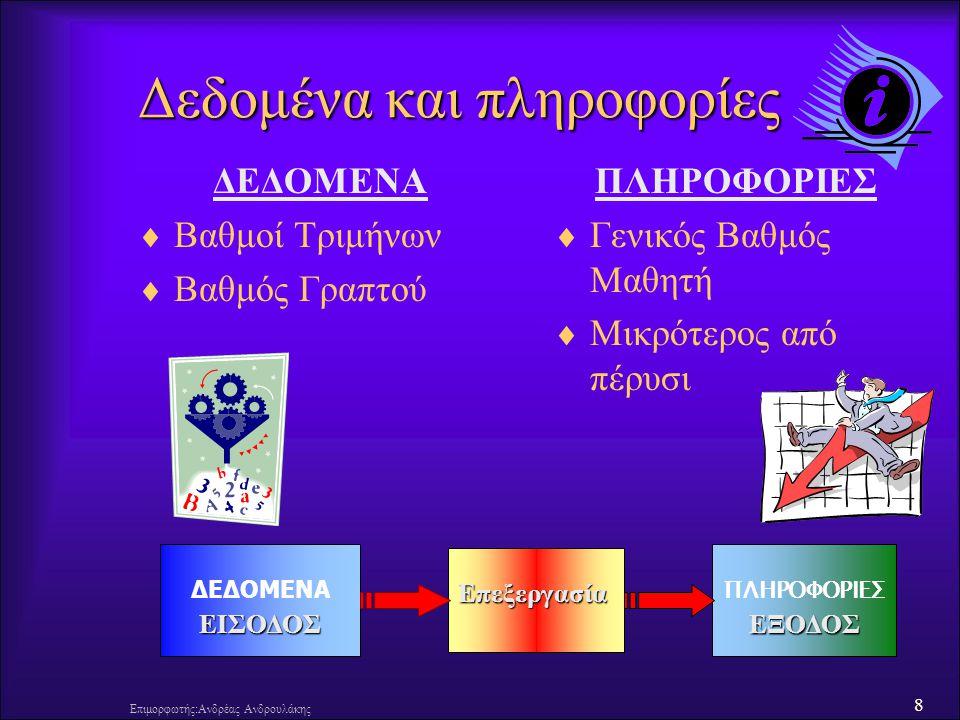 9 Επιμορφωτής:Ανδρέας Ανδρουλάκης Πληροφορική και Η/Υ  Πληροφορική  Πληροφορική είναι η επιστήμη και η τεχνολογία που έχει σαν αντικείμενο την επεξεργασία της πληροφορίας (με τη βοήθεια ηλεκτρονικών υπολογιστικών συστημάτων) με σκοπό τη λήψη αποφάσεων.