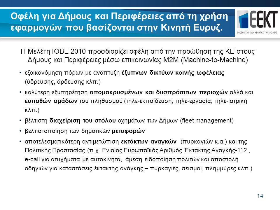 14 Οφέλη για Δήμους και Περιφέρειες από τη χρήση εφαρμογών που βασίζονται στην Κινητή Ευρυζ. 14 Η Μελέτη ΙΟΒΕ 2010 προσδιορίζει οφέλη από την προώθηση