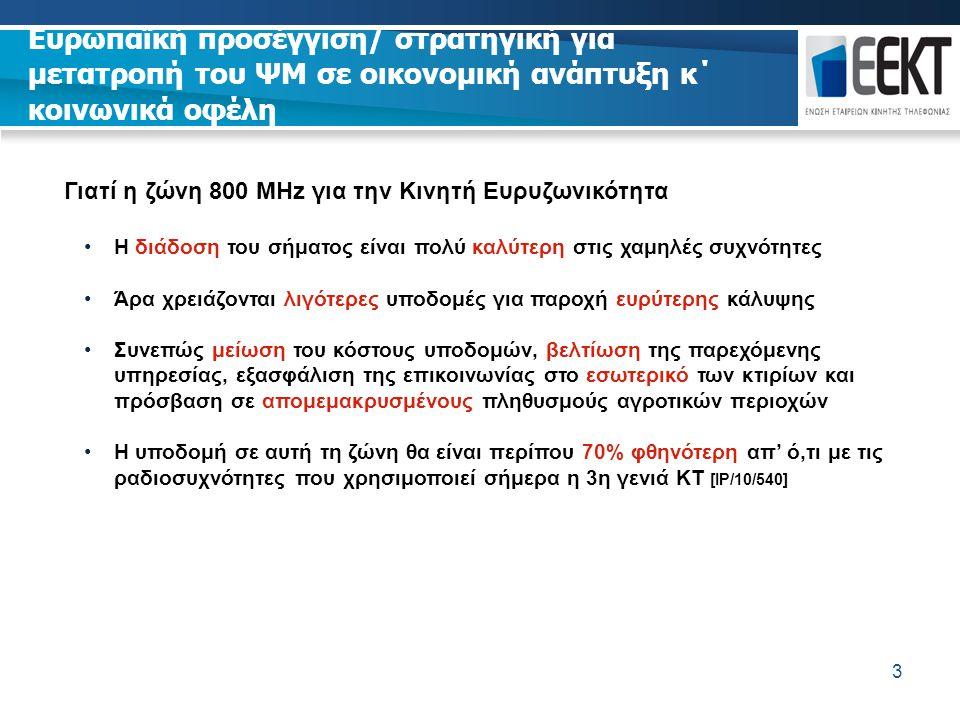 3 Γιατί η ζώνη 800 MHz για την Κινητή Ευρυζωνικότητα Η διάδοση του σήματος είναι πολύ καλύτερη στις χαμηλές συχνότητες Άρα χρειάζονται λιγότερες υποδο