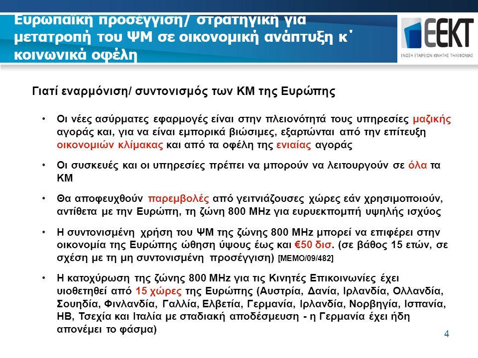 4 Γιατί εναρμόνιση/ συντονισμός των ΚΜ της Ευρώπης Οι νέες ασύρματες εφαρμογές είναι στην πλειονότητά τους υπηρεσίες μαζικής αγοράς και, για να είναι