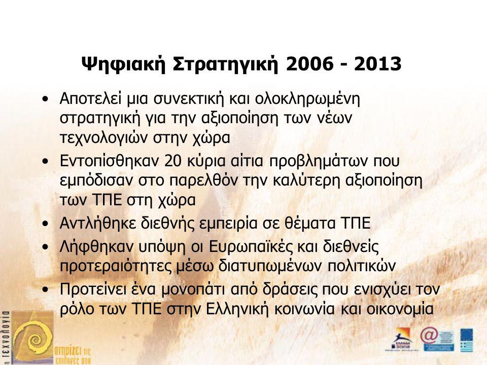 Ψηφιακή Στρατηγική 2006 - 2013 Αποτελεί μια συνεκτική και ολοκληρωμένη στρατηγική για την αξιοποίηση των νέων τεχνολογιών στην χώρα Εντοπίσθηκαν 20 κύρια αίτια προβλημάτων που εμπόδισαν στο παρελθόν την καλύτερη αξιοποίηση των ΤΠΕ στη χώρα Αντλήθηκε διεθνής εμπειρία σε θέματα ΤΠΕ Λήφθηκαν υπόψη οι Ευρωπαϊκές και διεθνείς προτεραιότητες μέσω διατυπωμένων πολιτικών Προτείνει ένα μονοπάτι από δράσεις που ενισχύει τον ρόλο των ΤΠΕ στην Ελληνική κοινωνία και οικονομία