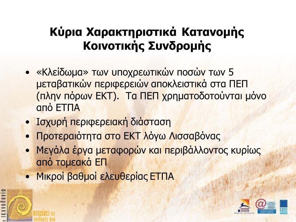 Κύρια Χαρακτηριστικά Κατανομής Κοινοτικής Συνδρομής «Κλείδωμα» των υποχρεωτικών ποσών των 5 μεταβατικών περιφερειών αποκλειστικά στα ΠΕΠ (πλην πόρων ΕΚΤ).
