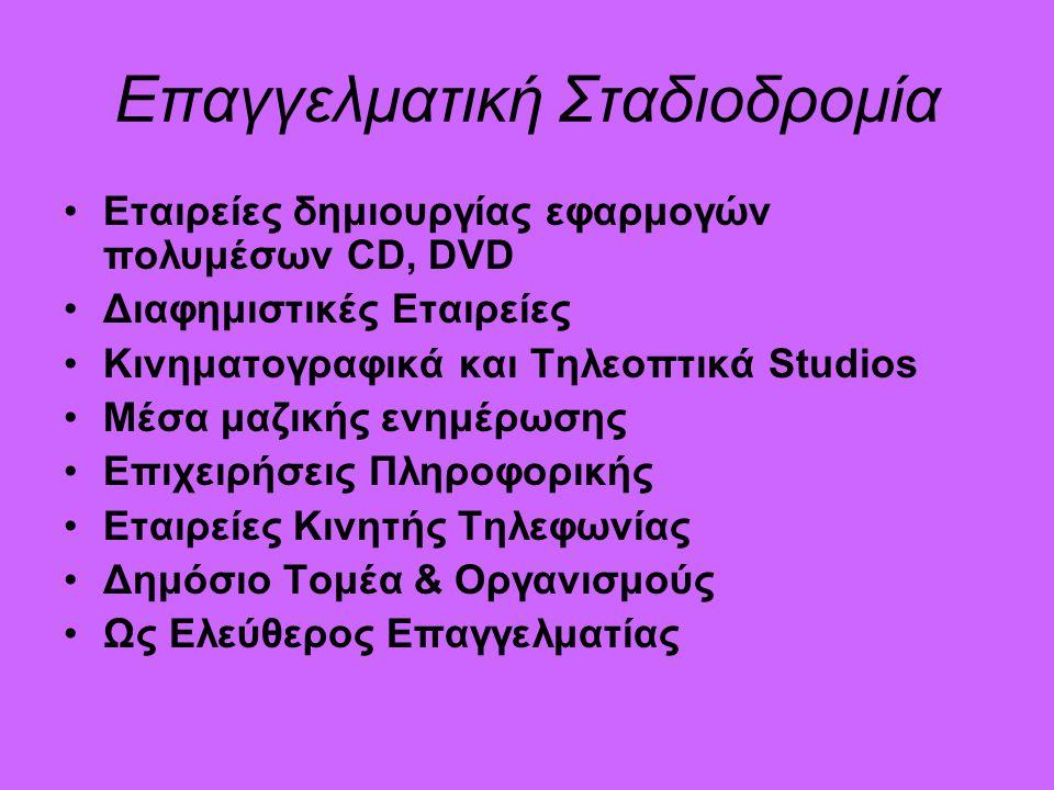 Επαγγελματική Σταδιοδρομία Εταιρείες δημιουργίας εφαρμογών πολυμέσων CD, DVD Διαφημιστικές Εταιρείες Κινηματογραφικά και Τηλεοπτικά Studios Μέσα μαζικής ενημέρωσης Επιχειρήσεις Πληροφορικής Εταιρείες Κινητής Τηλεφωνίας Δημόσιο Τομέα & Οργανισμούς Ως Ελεύθερος Επαγγελματίας