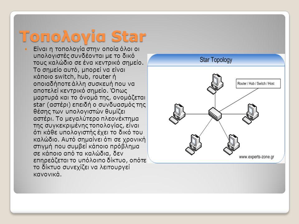 Τοπολογία Star Είναι η τοπολογία στην οποία όλοι οι υπολογιστές συνδέονται με το δικό τους καλώδιο σε ένα κεντρικό σημείο. Το σημείο αυτό, μπορεί να ε