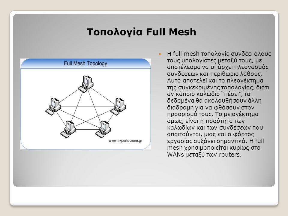 Τοπολογία Full Mesh Η full mesh τοπολογία συνδέει όλους τους υπολογιστές μεταξύ τους, με αποτέλεσμα να υπάρχει πλεονασμός συνδέσεων και περιθώριο λάθο
