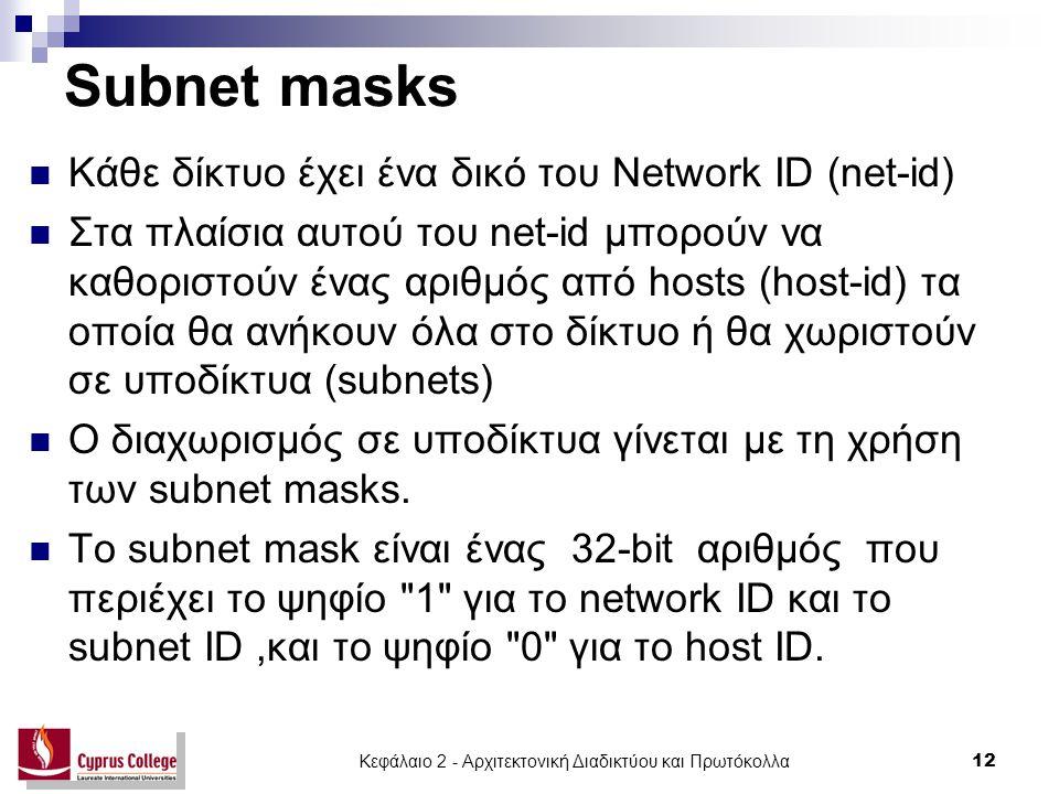 Κεφάλαιο 2 - Αρχιτεκτονική Διαδικτύου και Πρωτόκολλα 12 Subnet masks Κάθε δίκτυο έχει ένα δικό του Network ID (net-id) Στα πλαίσια αυτού του net-id μπ