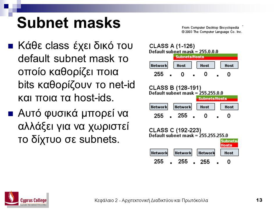 Κεφάλαιο 2 - Αρχιτεκτονική Διαδικτύου και Πρωτόκολλα 13 Subnet masks Κάθε class έχει δικό του default subnet mask το οποίο καθορίζει ποια bits καθορίζ
