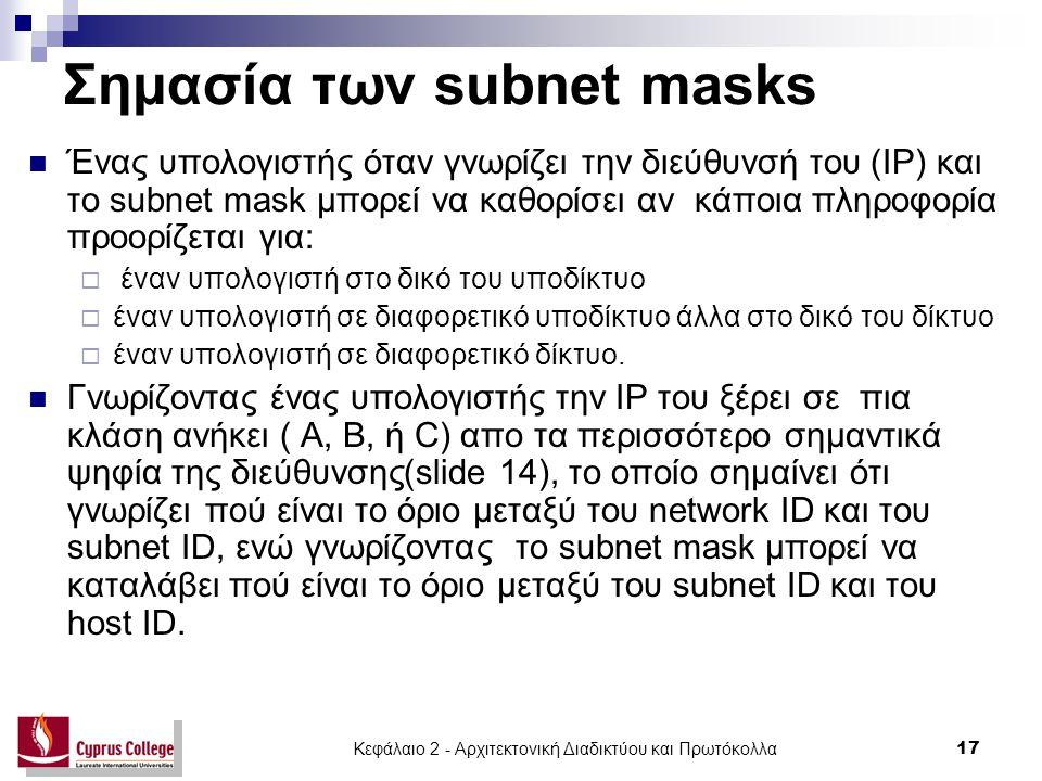 Κεφάλαιο 2 - Αρχιτεκτονική Διαδικτύου και Πρωτόκολλα 17 Σημασία των subnet masks Ένας υπολογιστής όταν γνωρίζει την διεύθυνσή του (IP) και το subnet m