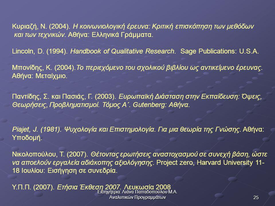 25 Εισηγήτρια: Λιάνα Παπαδοπούλου Μ.Α.Αναλυτικών Προγραμμάτων Κυριαζή, Ν.