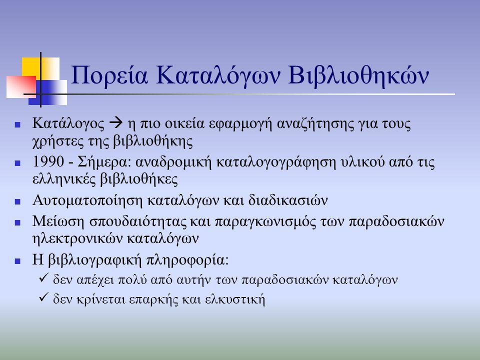 Πορεία Καταλόγων Βιβλιοθηκών Κατάλογος  η πιο οικεία εφαρμογή αναζήτησης για τους χρήστες της βιβλιοθήκης 1990 - Σήμερα: αναδρομική καταλογογράφηση υλικού από τις ελληνικές βιβλιοθήκες Αυτοματοποίηση καταλόγων και διαδικασιών Μείωση σπουδαιότητας και παραγκωνισμός των παραδοσιακών ηλεκτρονικών καταλόγων Η βιβλιογραφική πληροφορία: δεν απέχει πολύ από αυτήν των παραδοσιακών καταλόγων δεν κρίνεται επαρκής και ελκυστική