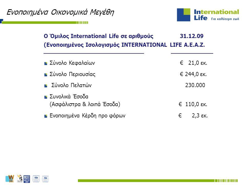 Ο Όμιλος International Life σε αριθμούς 31.12.09 (Ενοποιημένος Ισολογισμός INTERNATIONAL LIFE Α.Ε.Α.Ζ. Σύνολο Κεφαλαίων € 21,0 εκ. Σύνολο Περιουσίας €