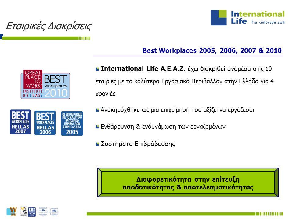 Best Workplaces 2005, 2006, 2007 & 2010 International Life Α.Ε.Α.Ζ. έχει διακριθεί ανά μέσα στις 10 εταιρίες με το καλύτερο Εργασιακό Περιβάλλον στην