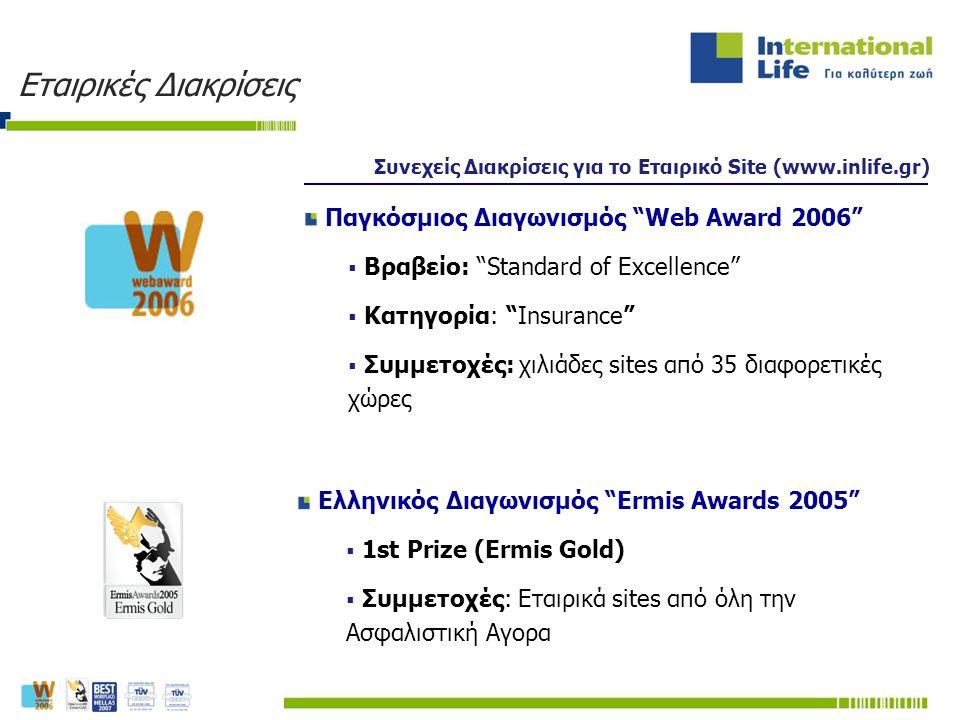 """Συνεχείς Διακρίσεις για το Εταιρικό Site (www.inlife.gr) Παγκόσμιος Διαγωνισμός """"Web Award 2006""""  Βραβείο: """"Standard of Excellence""""  Κατηγορία: """"Ins"""