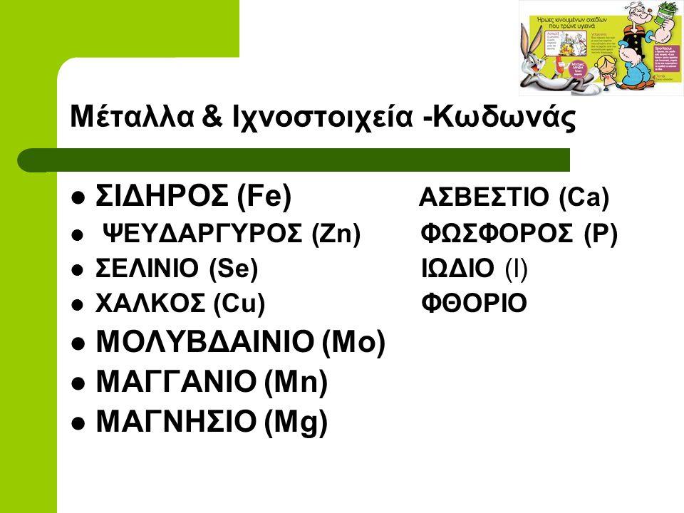 Μέταλλα & Ιχνοστοιχεία -Κωδωνάς ΣΙΔΗΡΟΣ (Fe) ΑΣΒΕΣΤΙΟ (Ca) ΨΕΥΔΑΡΓΥΡΟΣ (Zn) ΦΩΣΦΟΡΟΣ (Ρ) ΣΕΛΙΝΙΟ (Se) ΙΩΔΙΟ (Ι) ΧΑΛΚΟΣ (Cu) ΦΘΟΡΙΟ ΜΟΛΥΒΔΑΙΝΙΟ (Mo) ΜΑ