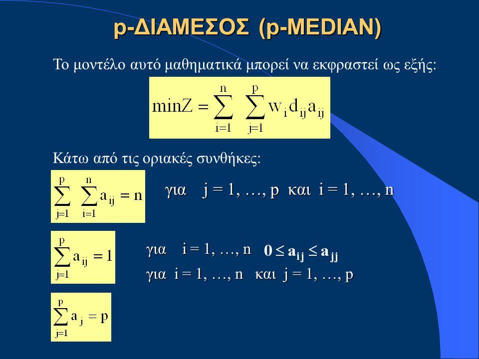 Το μοντέλο αυτό μαθηματικά μπορεί να εκφραστεί ως εξής: Κάτω από τις οριακές συνθήκες: p-ΔΙΑΜΕΣΟΣ (p-MEDIAN) για j = 1, …, p και i = 1, …, n για i = 1, …, n για i = 1, …, n και j = 1, …, p