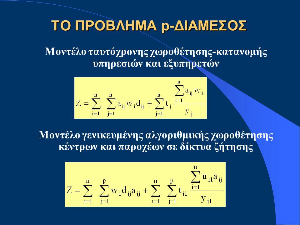 Μοντέλο ταυτόχρονης χωροθέτησης-κατανομής υπηρεσιών και εξυπηρετών Μοντέλο γενικευμένης αλγοριθμικής χωροθέτησης κέντρων και παροχέων σε δίκτυα ζήτησης ΤΟ ΠΡΟΒΛΗΜΑ p-ΔΙΑΜΕΣΟΣ