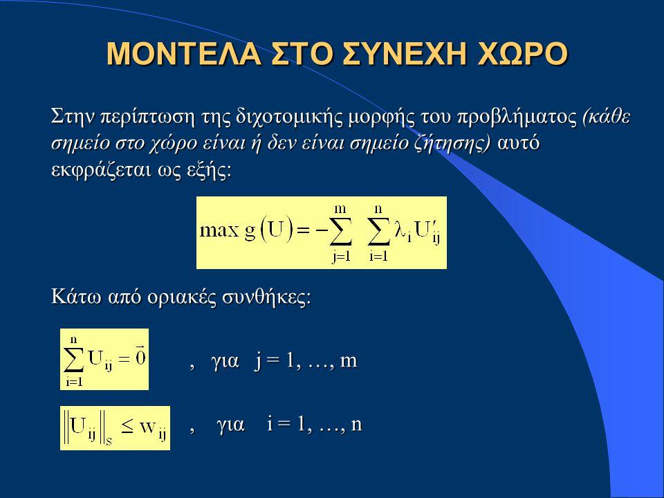 Στην περίπτωση της διχοτομικής μορφής του προβλήματος (κάθε σημείο στο χώρο είναι ή δεν είναι σημείο ζήτησης) αυτό εκφράζεται ως εξής: Κάτω από οριακές συνθήκες:, για j = 1, …, m, για j = 1, …, m, για i = 1, …, n, για i = 1, …, n ΜΟΝΤΕΛΑ ΣΤΟ ΣΥΝΕΧΗ ΧΩΡΟ