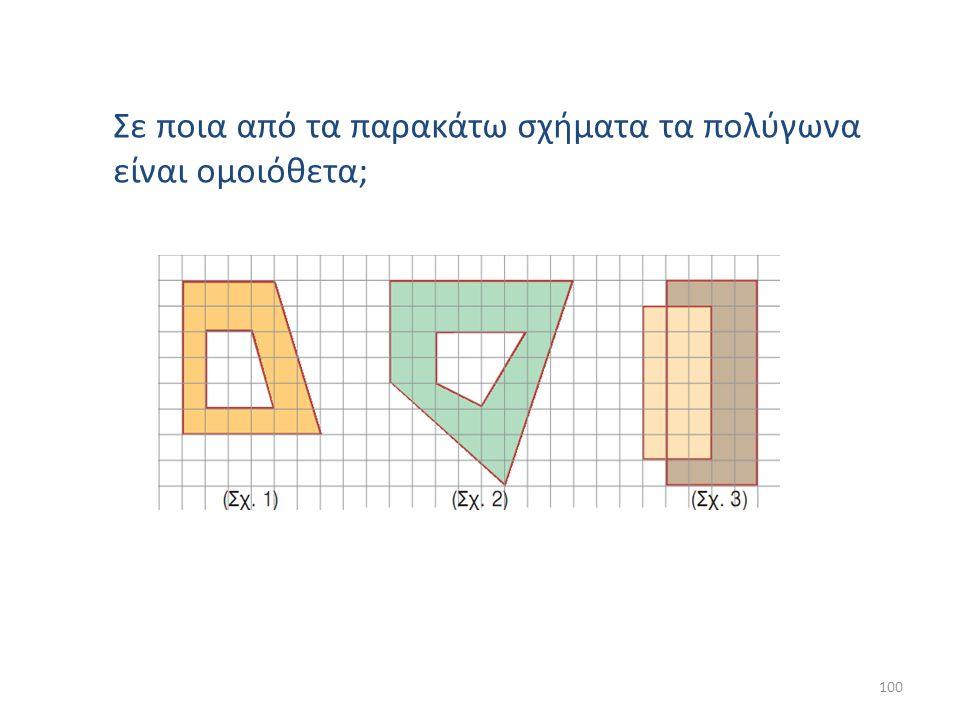 Σε ποια από τα παρακάτω σχήματα τα πολύγωνα είναι ομοιόθετα; 100