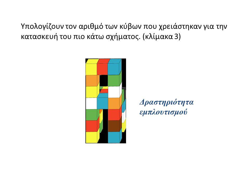 Υπολογίζουν τον αριθμό των κύβων που χρειάστηκαν για την κατασκευή του πιο κάτω σχήματος. (κλίμακα 3) Δραστηριότητα εμπλουτισμού