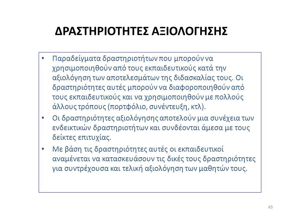 ΔΡΑΣΤΗΡΙΟΤΗΤΕΣ ΑΞΙΟΛΟΓΗΣΗΣ Παραδείγματα δραστηριοτήτων που μπορούν να χρησιμοποιηθούν από τους εκπαιδευτικούς κατά την αξιολόγηση των αποτελεσμάτων τη