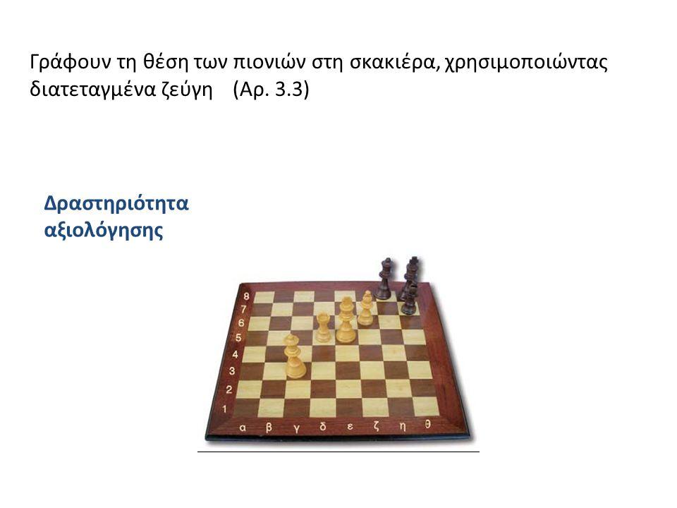 Γράφουν τη θέση των πιονιών στη σκακιέρα, χρησιμοποιώντας διατεταγμένα ζεύγη (Αρ. 3.3) Δραστηριότητα αξιολόγησης