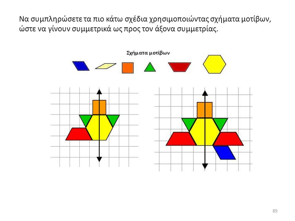 89 Να συμπληρώσετε τα πιο κάτω σχέδια χρησιμοποιώντας σχήματα μοτίβων, ώστε να γίνουν συμμετρικά ως προς τον άξονα συμμετρίας.