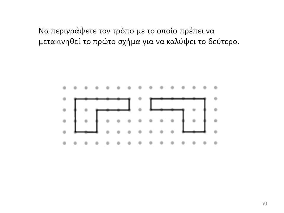 Να περιγράψετε τον τρόπο με το οποίο πρέπει να μετακινηθεί το πρώτο σχήμα για να καλύψει το δεύτερο. 94