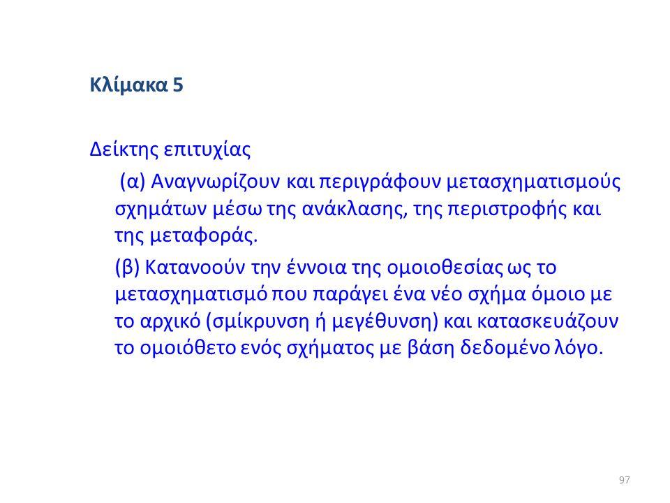 Κλίμακα 5 Δείκτης επιτυχίας (α) Αναγνωρίζουν και περιγράφουν μετασχηματισμούς σχημάτων μέσω της ανάκλασης, της περιστροφής και της μεταφοράς. (β) Κατα