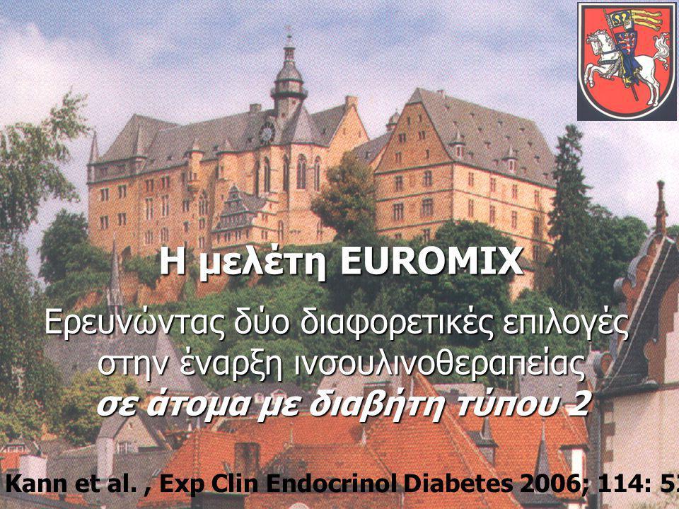 24 Η μελέτη EUROMIX Ερευνώντας δύο διαφορετικές επιλογές στην έναρξη ινσουλινοθεραπείας σε άτομα με διαβήτη τύπου 2 Kann et al., Exp Clin Endocrinol Diabetes 2006; 114: 527-53226