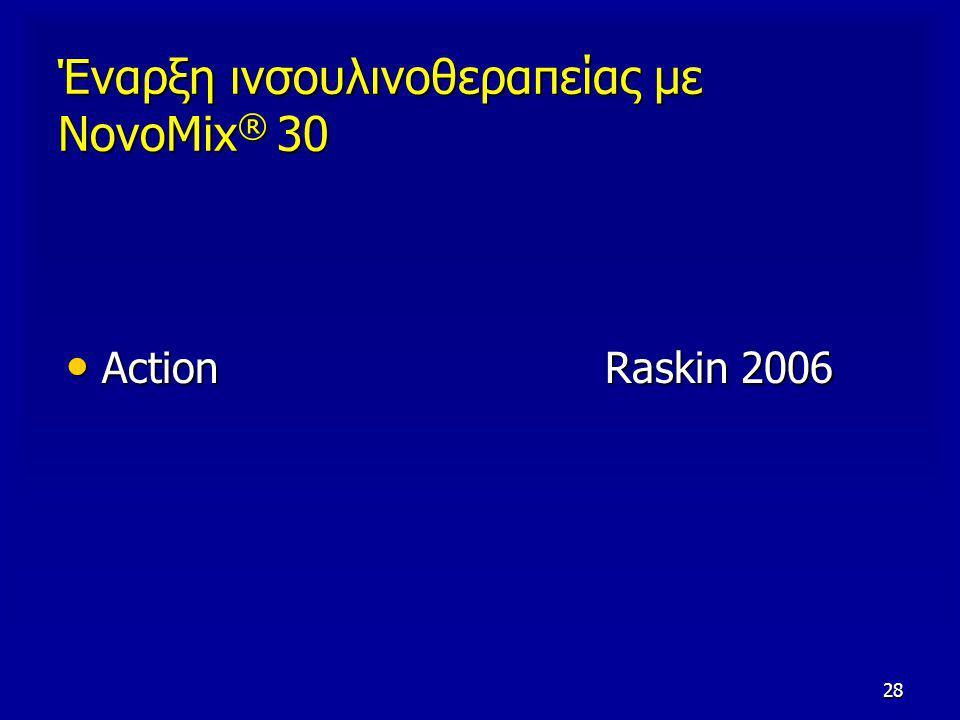 28 Έναρξη ινσουλινοθεραπείας με NovoMix ® 30 Action Raskin 2006 Action Raskin 2006