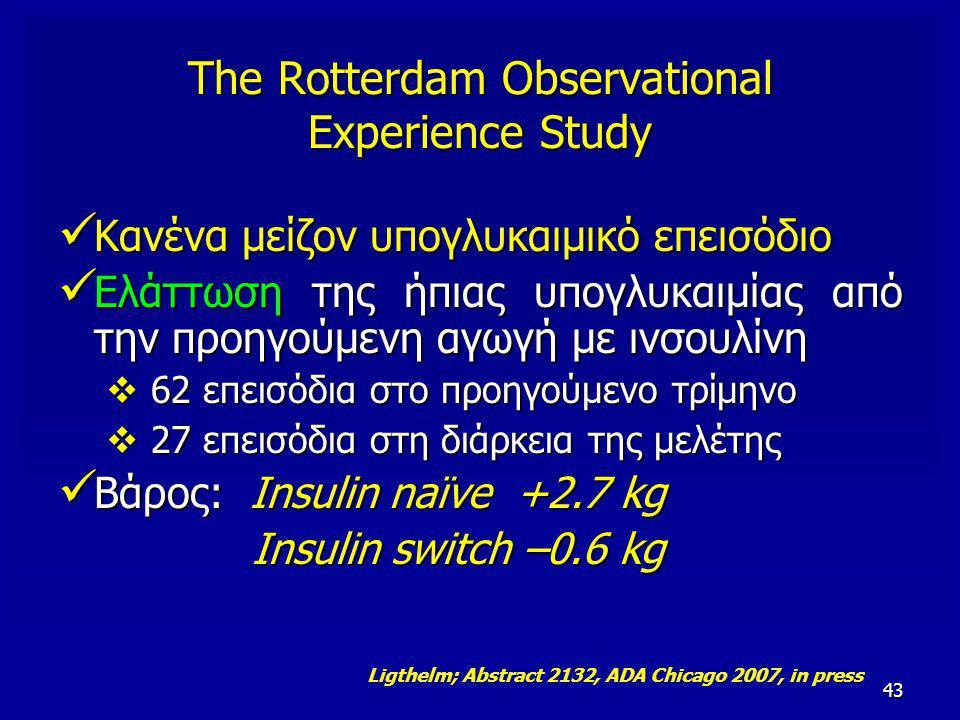 43 Κανένα μείζον υπογλυκαιμικό επεισόδιο Κανένα μείζον υπογλυκαιμικό επεισόδιο Ελάττωση της ήπιας υπογλυκαιμίας από την προηγούμενη αγωγή με ινσουλίνη Ελάττωση της ήπιας υπογλυκαιμίας από την προηγούμενη αγωγή με ινσουλίνη  62 επεισόδια στο προηγούμενο τρίμηνο  27 επεισόδια στη διάρκεια της μελέτης Βάρος: Insulin naïve +2.7 kg Βάρος: Insulin naïve +2.7 kg Insulin switch –0.6 kg Insulin switch –0.6 kg Ligthelm; Abstract 2132, ADA Chicago 2007, in press The Rotterdam Observational Experience Study