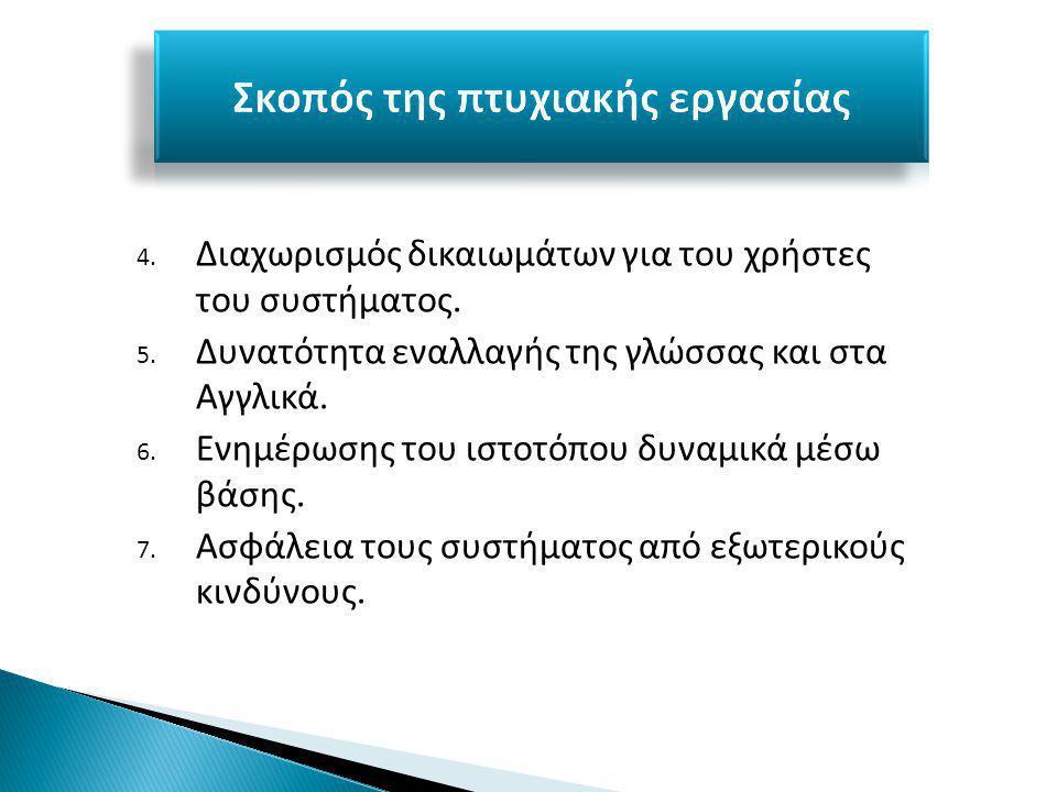 4. Διαχωρισμός δικαιωμάτων για του χρήστες του συστήματος.