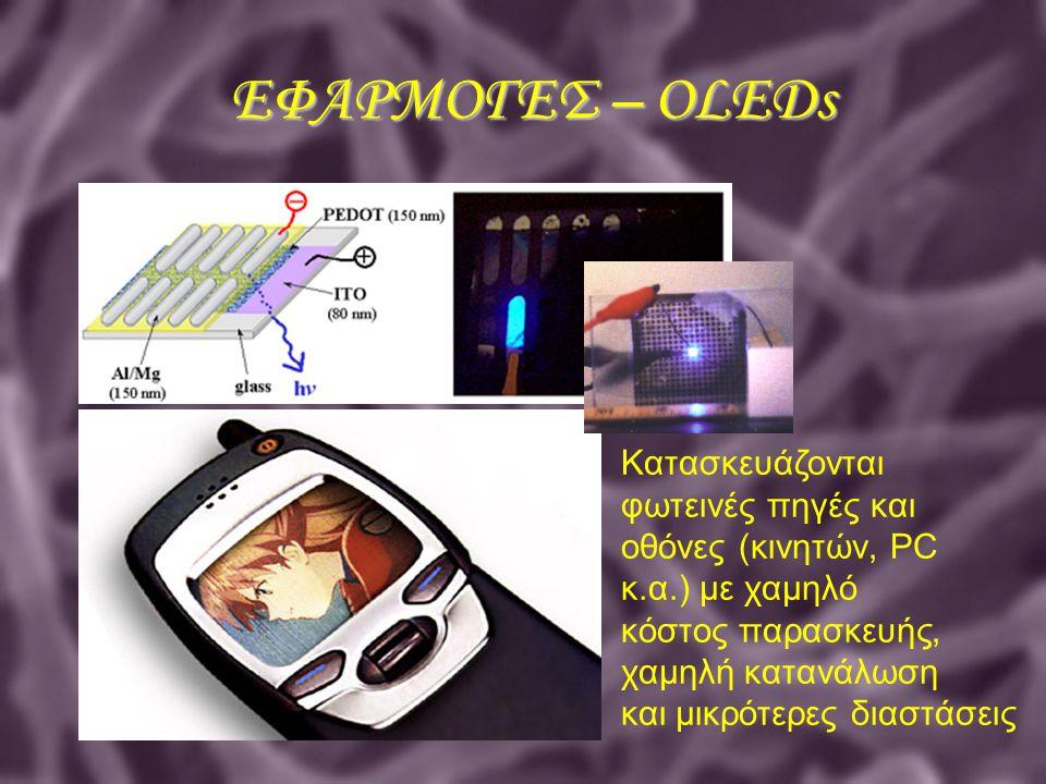 ΕΦΑΡΜΟΓΕΣ – OLEDs Κατασκευάζονται φωτεινές πηγές και οθόνες (κινητών, PC κ.α.) με χαμηλό κόστος παρασκευής, χαμηλή κατανάλωση και μικρότερες διαστάσει