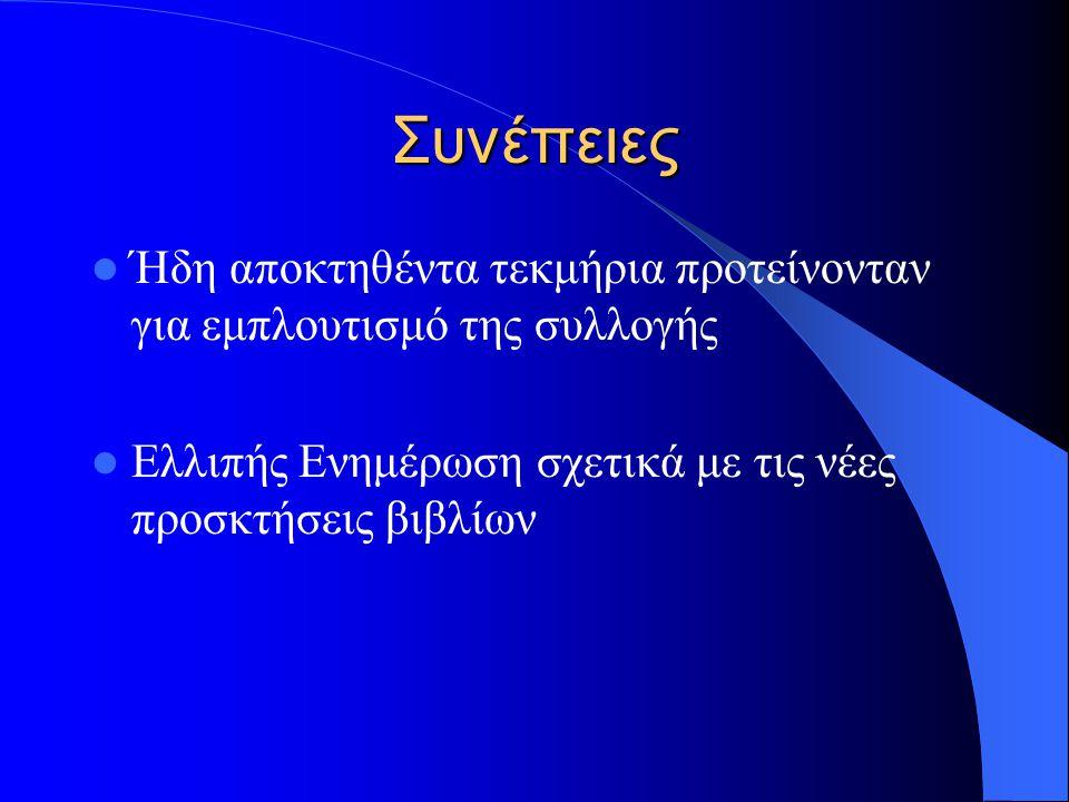 Εναλλακτική Μέθοδος Ενημέρωσης Χρήση τεχνολογιών της on-line επικοινωνίας και του Διαδικτύου Ενημέρωση των χρηστών της Βιβλιοθήκης – Εκπαιδευτικό Προσωπικό Δημιουργία ηλεκτρονικού Εκθετηρίου νέων προσκτήσεων – Σημαντικότερα νέα βιβλία της συλλογής της βιβλιοθήκης