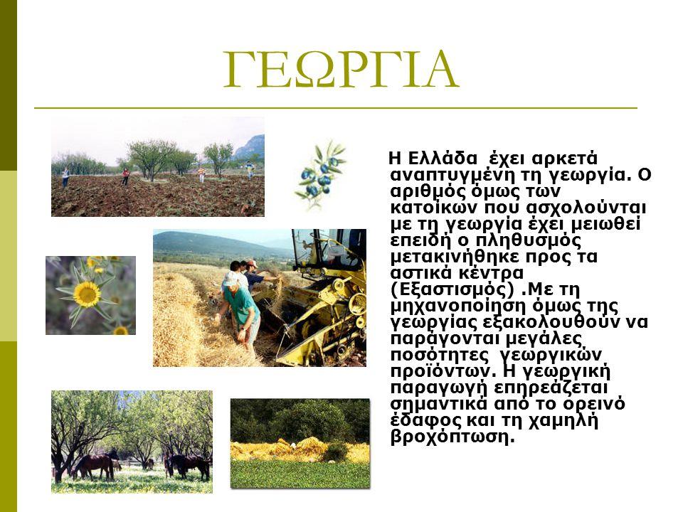 ΓΕΩΡΓΙΑ Η Ελλάδα έχει αρκετά αναπτυγμένη τη γεωργία. Ο αριθμός όμως των κατοίκων που ασχολούνται με τη γεωργία έχει μειωθεί επειδή ο πληθυσμός μετακιν