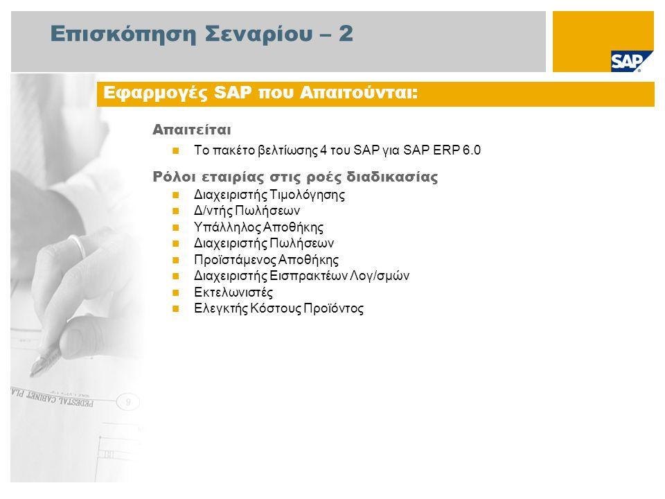 Επισκόπηση Σεναρίου – 2 Απαιτείται Το πακέτο βελτίωσης 4 του SAP για SAP ERP 6.0 Ρόλοι εταιρίας στις ροές διαδικασίας Διαχειριστής Τιμολόγησης Δ/ντής Πωλήσεων Υπάλληλος Αποθήκης Διαχειριστής Πωλήσεων Προϊστάμενος Αποθήκης Διαχειριστής Εισπρακτέων Λογ/σμών Εκτελωνιστές Ελεγκτής Κόστους Προϊόντος Εφαρμογές SAP που Απαιτούνται: