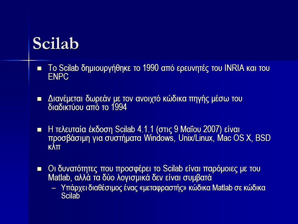 Scilab Το Scilab δημιουργήθηκε το 1990 από ερευνητές του INRIA και του ENPC Το Scilab δημιουργήθηκε το 1990 από ερευνητές του INRIA και του ENPC Διανέ