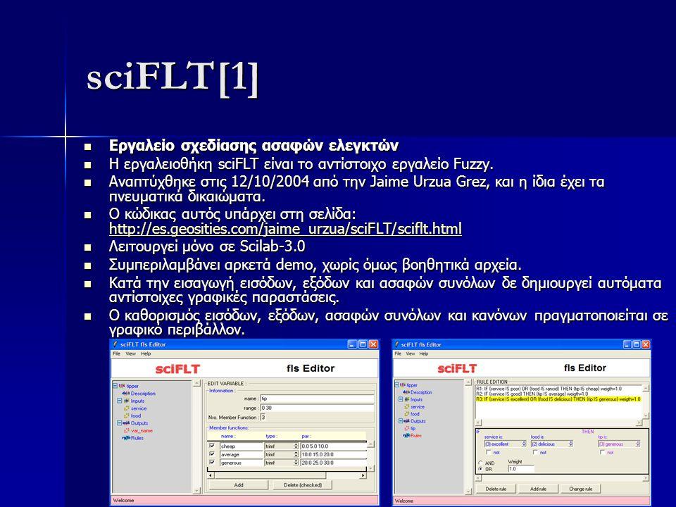 sciFLT[1] Εργαλείο σχεδίασης ασαφών ελεγκτών Εργαλείο σχεδίασης ασαφών ελεγκτών Η εργαλειοθήκη sciFLT είναι το αντίστοιχο εργαλείο Fuzzy. Η εργαλειοθή