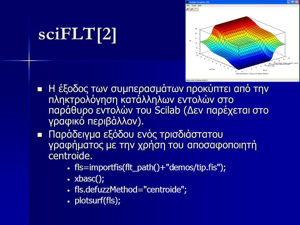 sciFLT[2] Η έξοδος των συμπερασμάτων προκύπτει από την πληκτρολόγηση κατάλληλων εντολών στο παράθυρο εντολών του Scilab (Δεν παρέχεται στο γραφικό περ