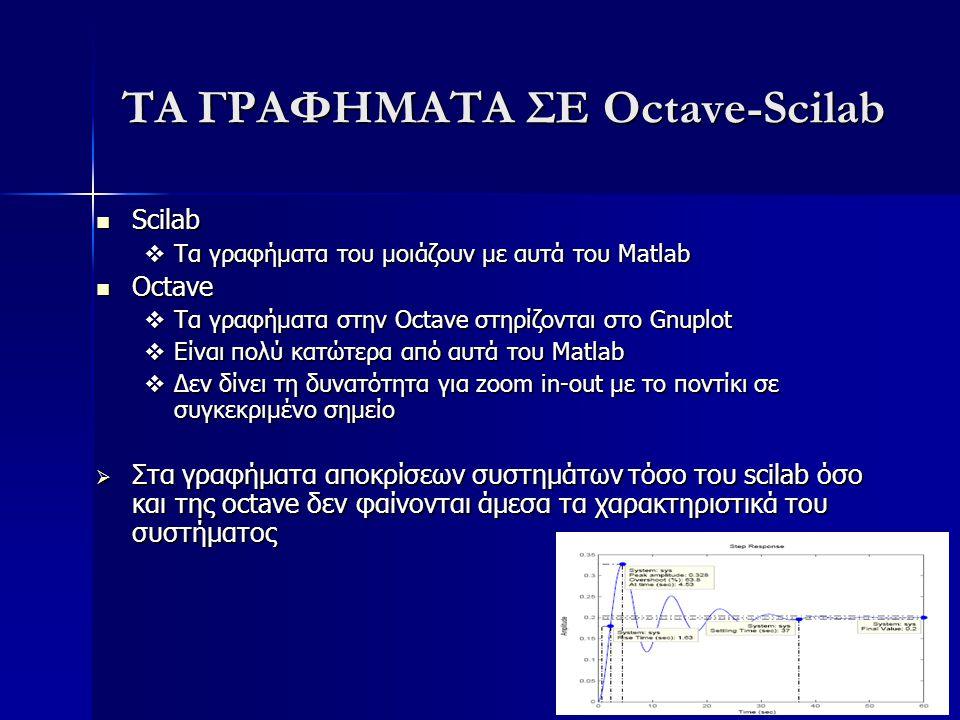 ΤΑ ΓΡΑΦΗΜΑΤΑ ΣΕ Octave-Scilab Scilab Scilab  Τα γραφήματα του μοιάζουν με αυτά του Matlab Octave Octave  Τα γραφήματα στην Octave στηρίζονται στο Gn