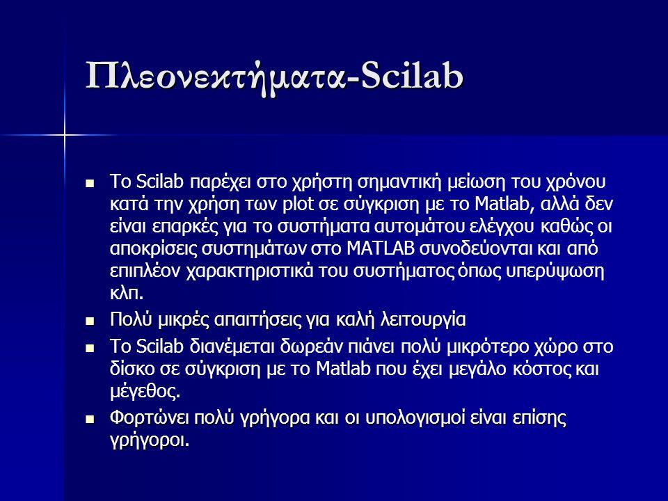 Πλεονεκτήματα-Scilab Το Scilab παρέχει στο χρήστη σημαντική μείωση του χρόνου κατά την χρήση των plot σε σύγκριση με το Matlab, αλλά δεν είναι επαρκές