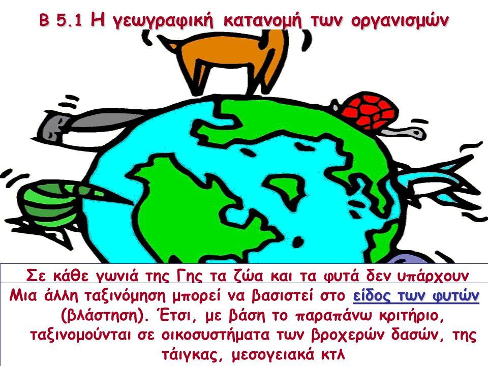 Β 5.1 Η γεωγραφική κατανομή των οργανισμών Σε κάθε γωνιά της Γης τα ζώα και τα φυτά δεν υπάρχουν απλώς δίπλα δίπλα. Στην πραγματικότητα εξαρτώνται άμε