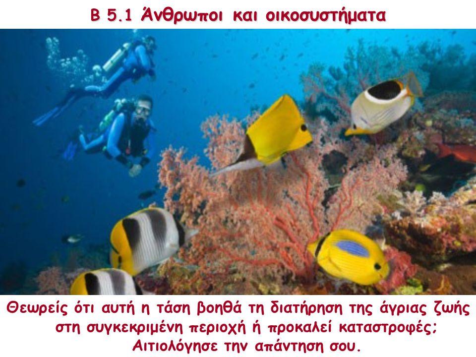 Β 5.1 Άνθρωποι και οικοσυστήματα Το κοραλλιογενές φράγμα στην Αυστραλία είναι μία από τις πιο δημοφιλείς περιοχές του πλανήτη. Προσελκύει εκατομμύρια