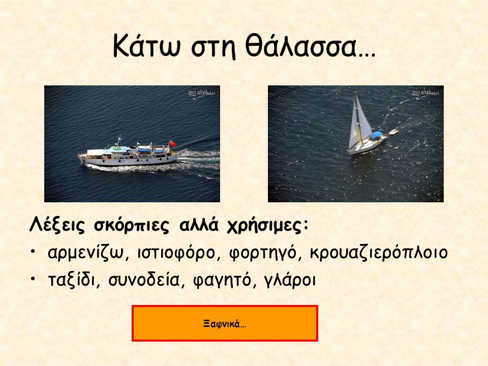 Κάτω στη θάλασσα… Λέξεις σκόρπιες αλλά χρήσιμες: αρμενίζω, ιστιοφόρο, φορτηγό, κρουαζιερόπλοιο ταξίδι, συνοδεία, φαγητό, γλάροι Ξαφνικά…